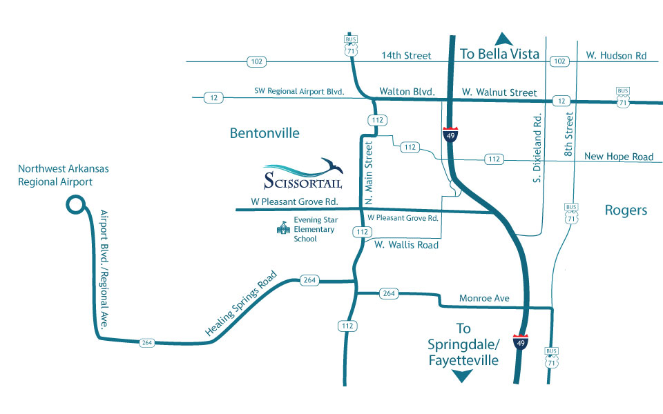 directions to Scissortail NWA